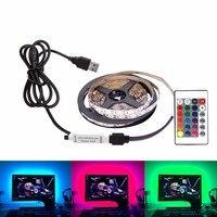 DC 5V LED Strip USB Cable Power Flexible Light Lamp 50CM 1M 2M 3M 4M 5M SMD 2835 Mini 3Key Desk Decor TV Background Lighting 5