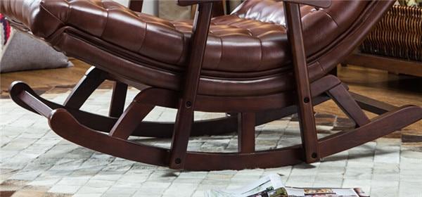 Comprar ahora Moderno cuero y madera mecedora sillón Sala dormitorio ...