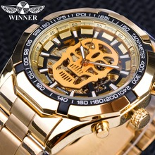Winner Brand Golden Stainless Steel Skull Steampunk Transparent Mechanical Men Automatic Skeleton Wrist Watches Top Luxury