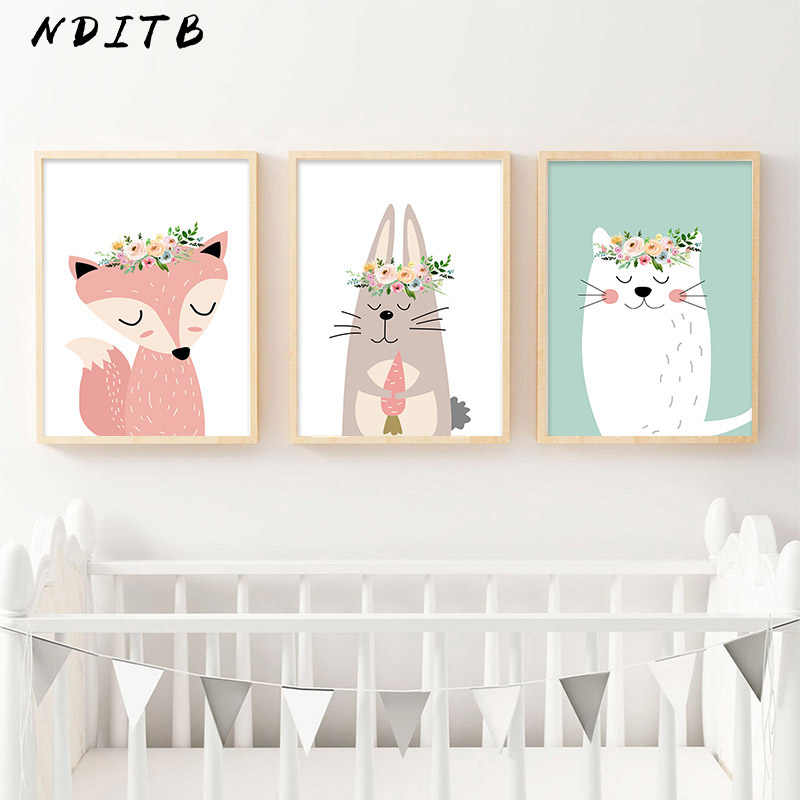 Cartoon Animal Fox Bear Canvas Poster Nursery Wall Art Print Painting Nordic Kids Decoration Picture Baby Children Bedroom Decor