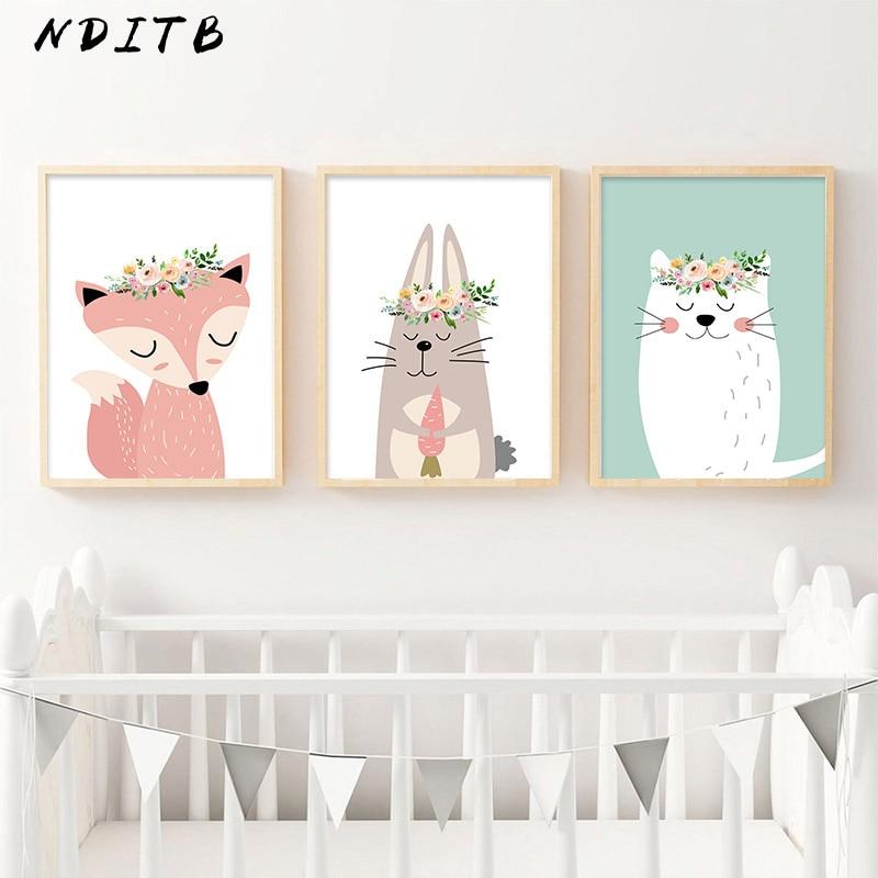 Cartoon Animal Fox Bear Canvas Poster Nursery Wall Art Print Painting Nordic Kids Decoration Picture Baby Children Bedroom Decor