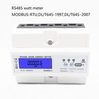 Three phase four wire RS485 MODBUS protocol Multifunctional 3*AC220/380V 3*AC230/400V Din Rail energy meter watt meter