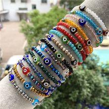 Turkish Blue Crystal Evil Eye Bracelets For Women Handmade Glass Beads Chains Lucky Jewelry Accessories Fashion Couple Bracelet
