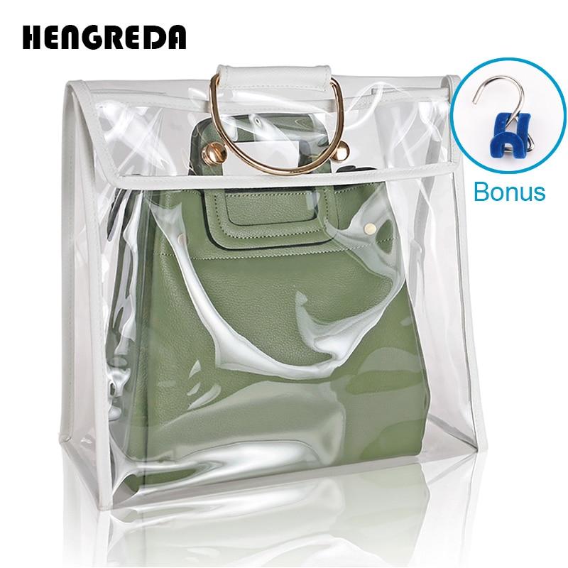 Clear Dust-Proof Bag Case Organizer Woman Transparent Handbag Protector Holder Hengreda 2018 Fashion for Travel Beach алиэкспресс сумка прозрачная