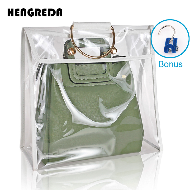 15ac79a973e5 US $14.13 45% OFF|Clear Dust Proof Bag Case Organizer Woman Transparent  Handbag Protector Holder Hengreda 2018 Fashion for Travel Beach-in  Top-Handle ...