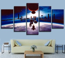 Modern Wall Art Canvas HD Print Painting 5 Piece Space Station Concept Artistic Modular Large Poster For Living Room Home Decor