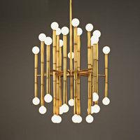 Delightfull Rectangular Suspension Lamp Post Modern Plate Chrome Gold Led Chandelier Bamboo Shape Pipe Hanging Chandelier
