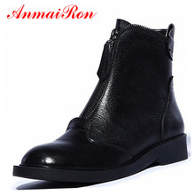 ANMAIRON New Genuine Leather Boots Cowhide Women's Ankle Boots Square Heel Fashion Real Leather Motorcycle Snow Boots Shoes