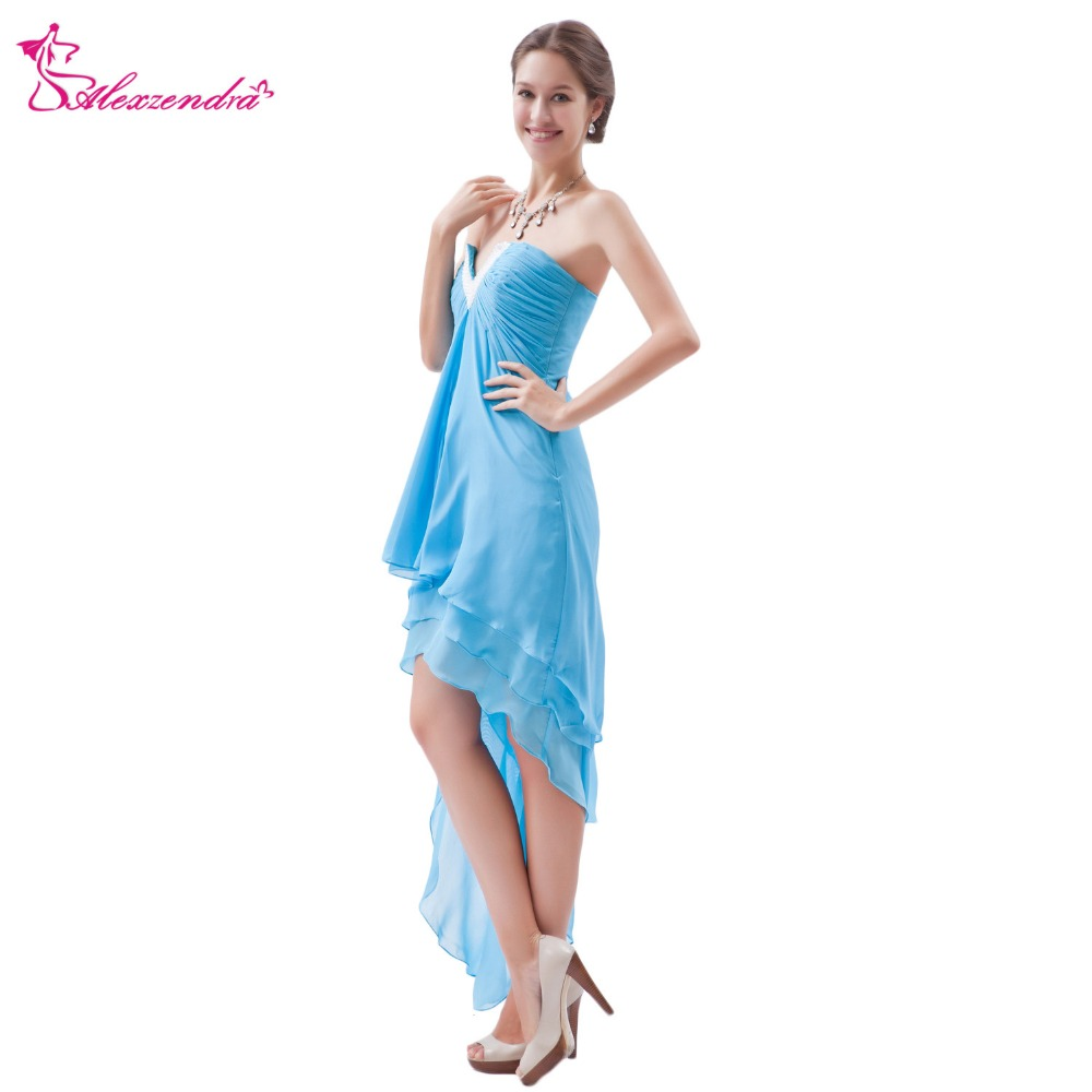 Alexzendra V Neck Sky Blue Chiffon High Low Simple   Prom     Dresses   Customize Special Party Gowns