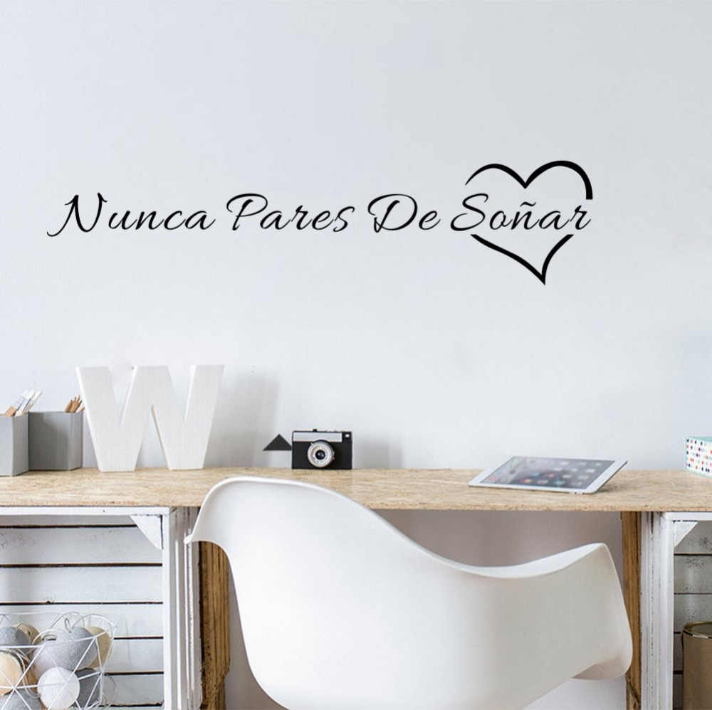 Spanish Quotes Never Stop Dreaming Wall Sticker Removable Vinyl Decal for Home Decoration Two Size