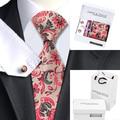 Mens clássicos Laços Define Red & Cáqui Floral Gravata Lenço Abotoaduras com Caixa Branca Saco Laços Para Homens Ternos B-1178