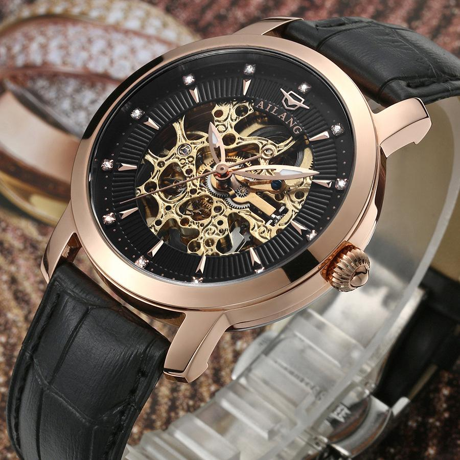 Luxury Brand AILANG Men Crystals Business Watches 100% 316L Automatic Dress Clock Skeleton Mechanical Wrist watch Relojes NW3309 luxury men brand crystals dress watches self winding mechanical 316l band calendar wristwatch saphir relojes analog 3atm nw4239