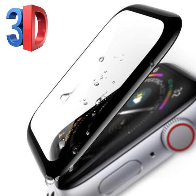 930bb9b0e68 3D Curved Edge Tempered Glass Protective Film Protection For iwatch Apple  Watch Series 4 40mm 44mm