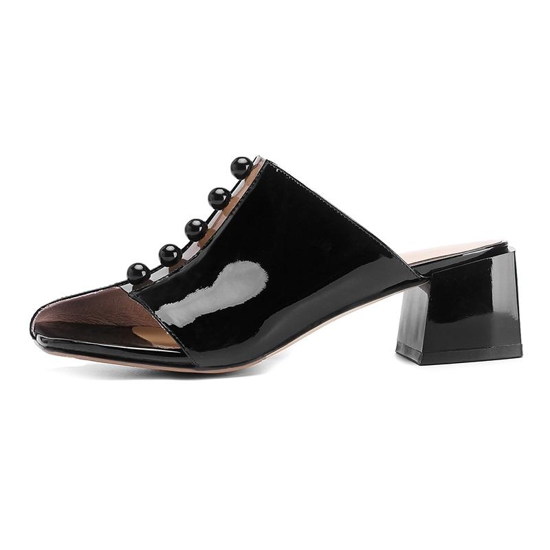 Femme Mules En Genuien Noir 2019 Nouvelles blanc Chaussures Décontracté Sur Partie Femmes Ribetrini Été Bureau Cuir De Printemps Pour Glissement 1PqTTnxfX