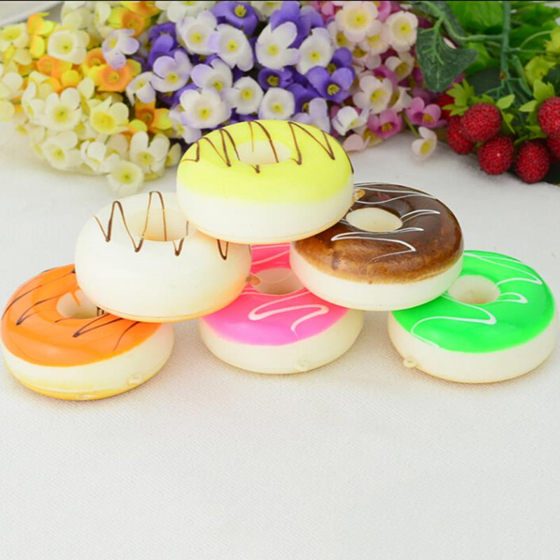 5CM Soft Mini Donut Cone Squishy Slow Rising Cell Phone Straps Bread Scented Charms Kids Toys Color Random