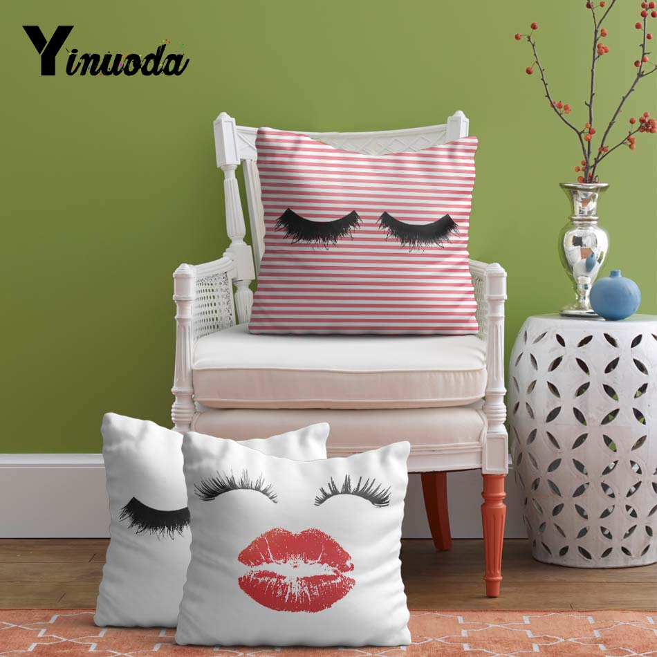 Yinuoda Funny Eyelash Cushions Covers Lips Decorative Throw Pillow Cover Lashes 14 16 18 20 24 in Lady gift essential
