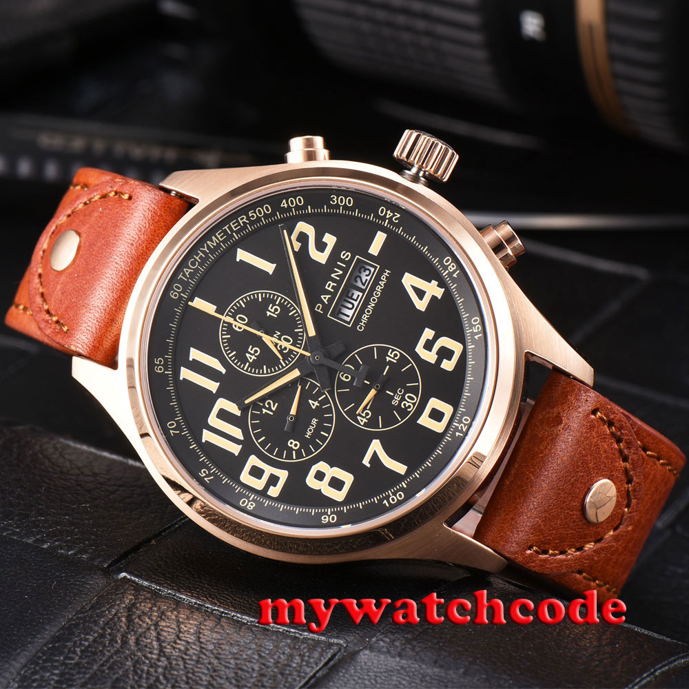 43mm parnis rose golden case black dial orange marks date week Full chronograph quartz mens watch цена
