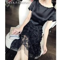 Deva Fashion High End Luxury Black Silk Dress Short Sleeve Mermaid Appliques Floral Double fabric Splice Summer Banquet Dress