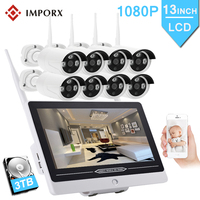 8CH 1080P Wireless NVR Kit 13 LCD Monitor Screen 2MP Outdoor Home Security P2P Wifi CCTV System Camera Video Surveillance Kit