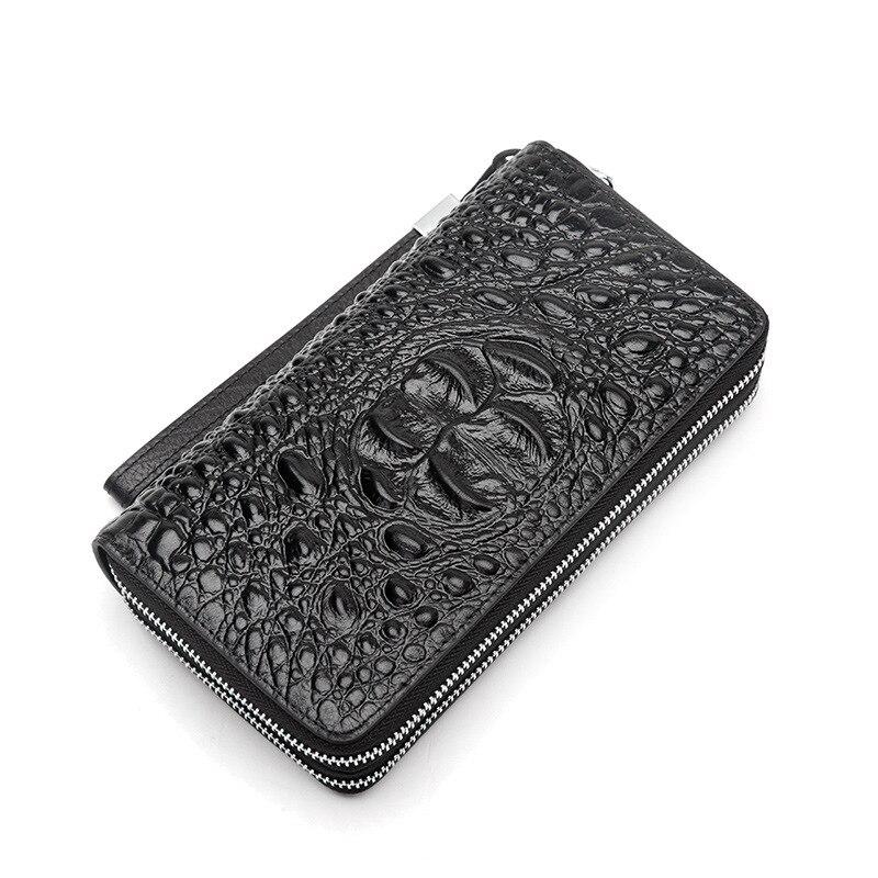 2017 Men Genuine Leather Cowhide Double Zipper Alligator Bag Long Wallet Card Money Holder Clutch Purse Black Business Wallets