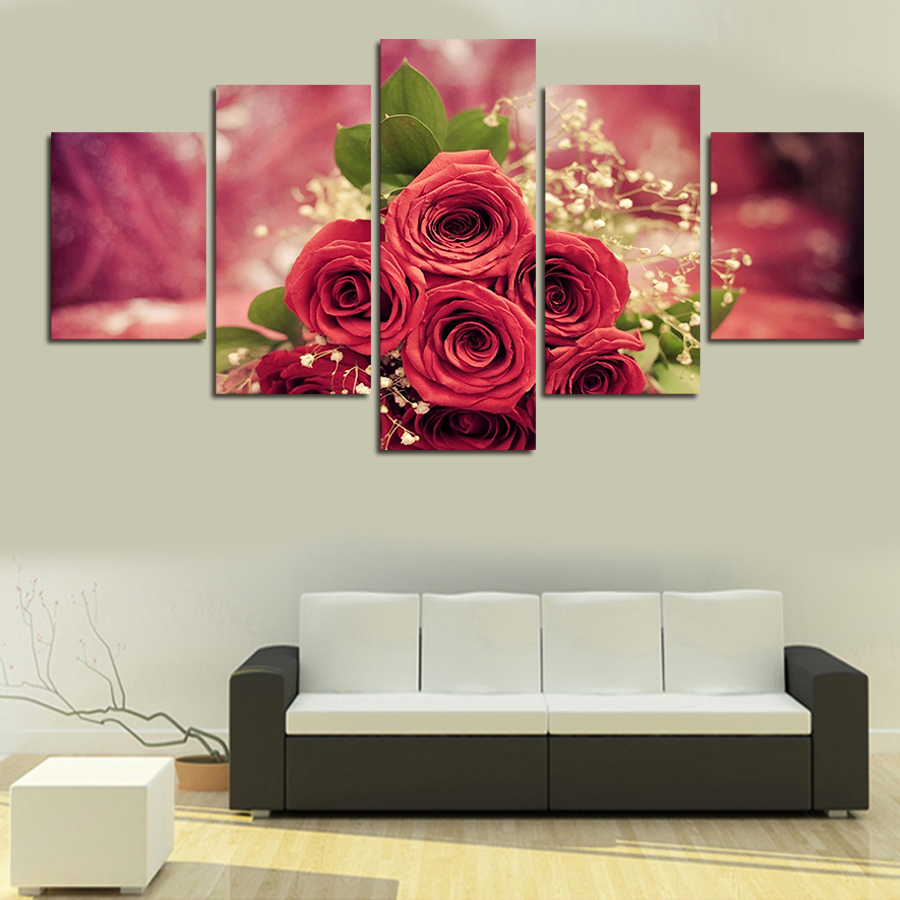 Cuadros Decoracion Painting By Numbers 5pcs Wall Art Rose