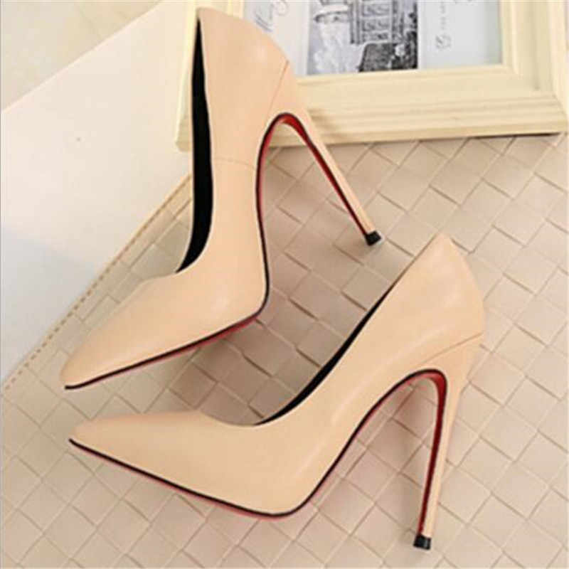 Thin heels pointed toe spring and autumn Pumps new nude color pointed women's shoes are sexy and high heels