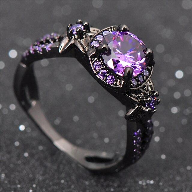 Amethyst & Purple Zircon Black Jewelry Ring