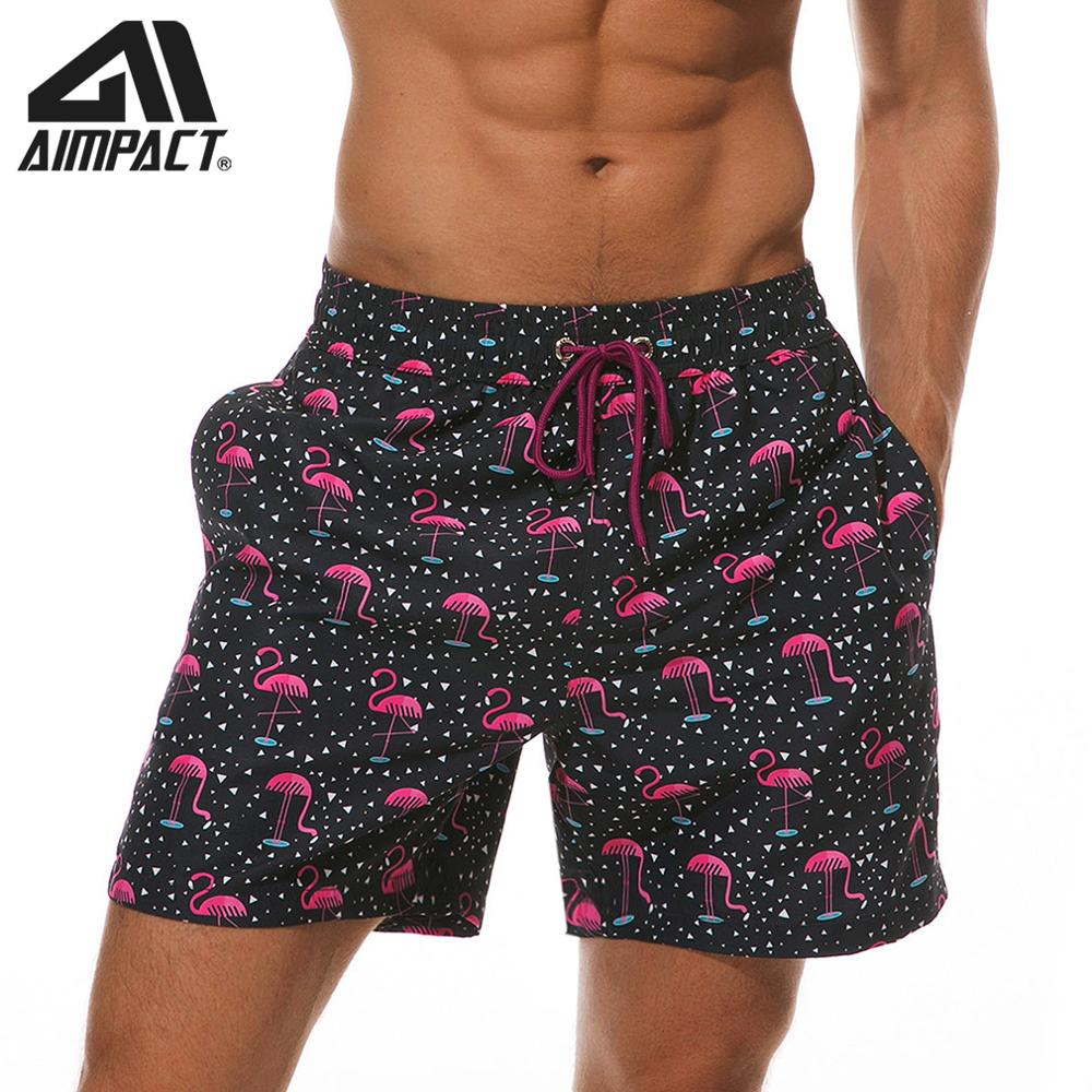 Aimpact Mens Board Shorts Flamingo Quick Dry Summer Beach Swimming Shorts Fashion Surf Hawaii Mesh Lining Liner Trunks AM2202