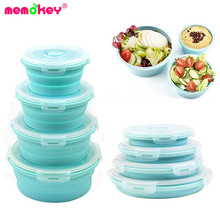 Round Silicone Folding Portable Collapsible Bento Box Lunch Box for Food Dinnerware Microwave Food Container Bowl Storage Safe C safe c