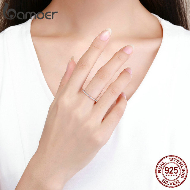 BAMOER 925 Sterling Silver Pink Crystal Wedding Female Rings for Women Simple Geometric Ring Sterling Silver Jewelry SCR066 5