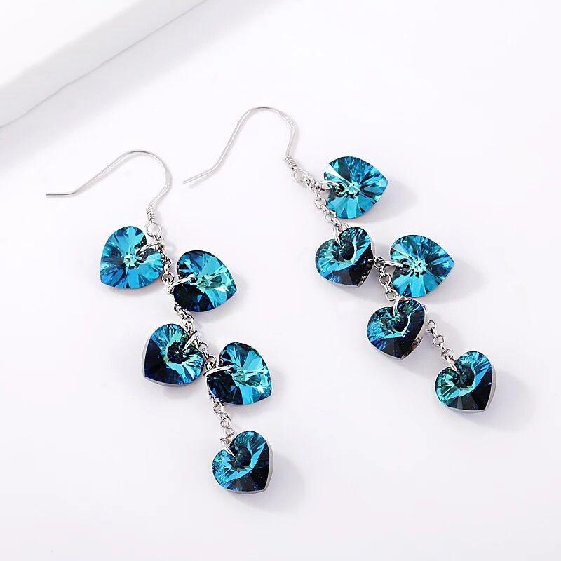BAFFIN Tassel Earrings Hanging Hearts Crystals From Swarovski Colorful Beads Drop Earrings
