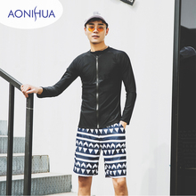 Aonihua Two Piece Swimsuit Mens Swimming Trunks For Sport Long Sleeve Separate SwimWear Teens
