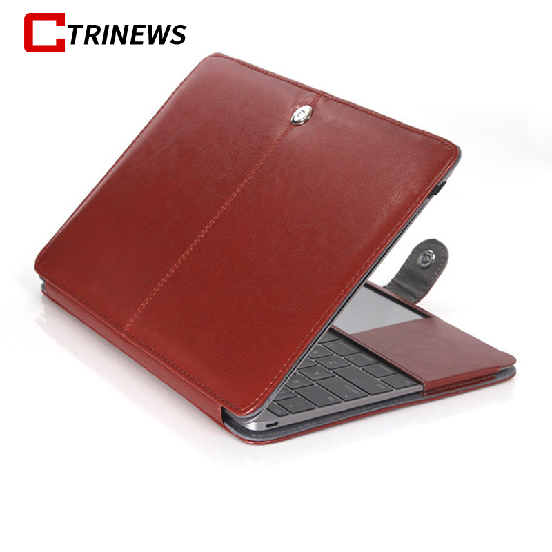 CTRINEWS Laptop Bag Case For MacBook Air Pro Retina 11 12 13 15 Laptop Sleeve Cover For MacBook Air 13 PU Leather Flip Case