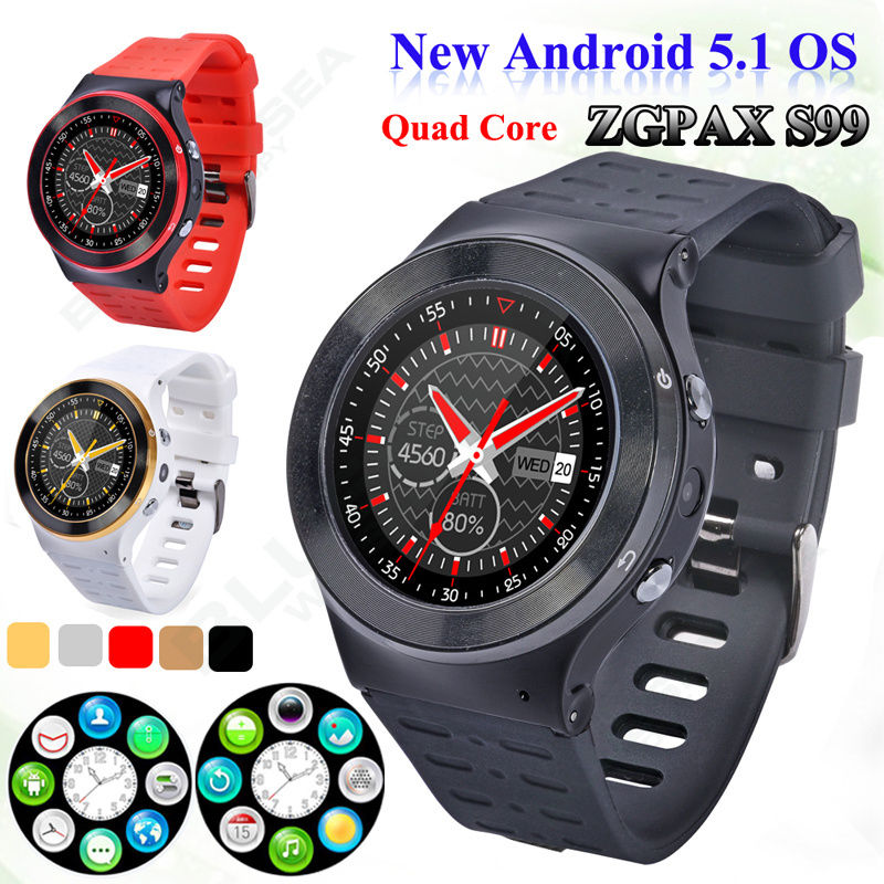 Free shipping ZGPAX S99 3G HD font b Smartwatch b font Android 5 1 1 33