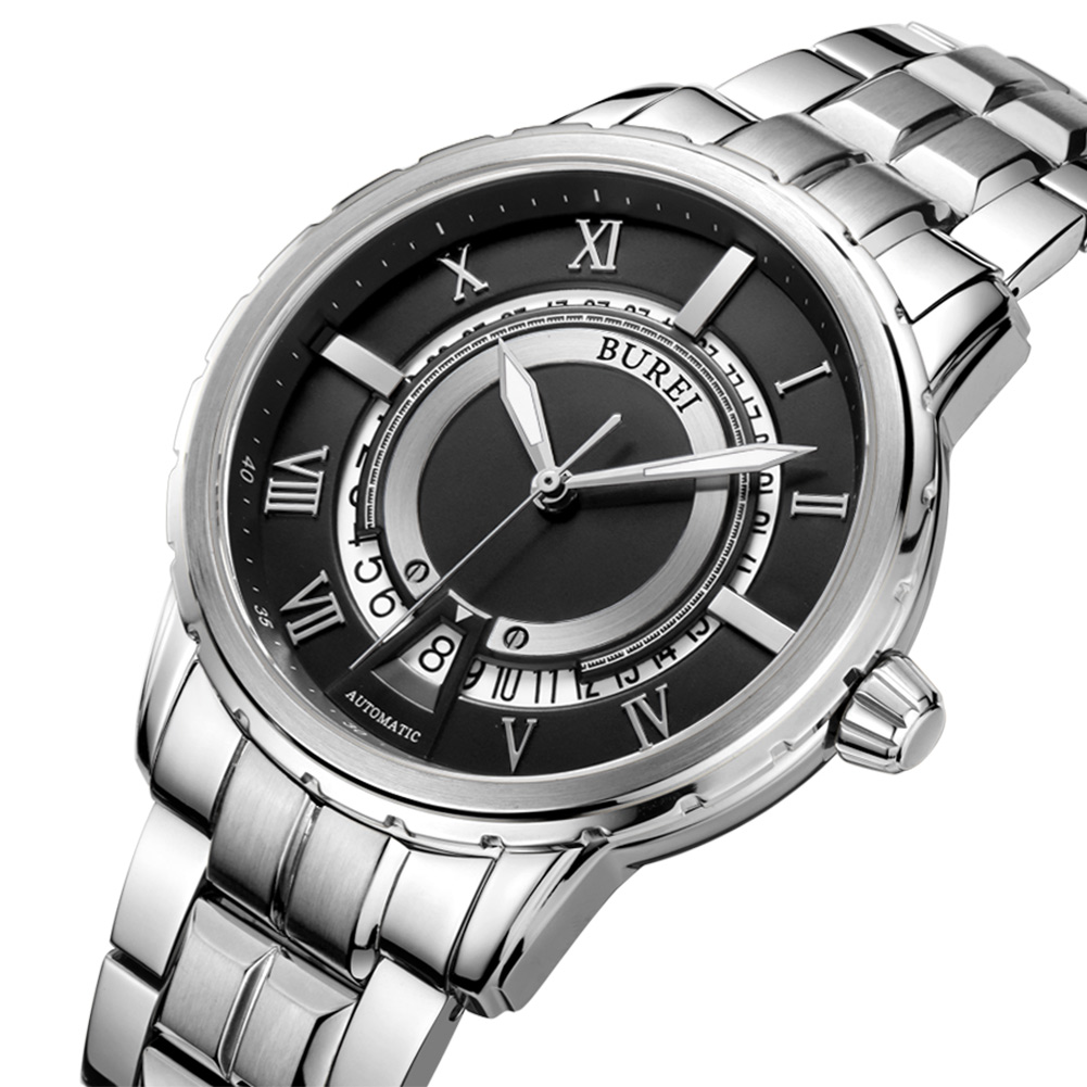 BUREI Brand Luxury Watch Men Analog Display Automatic Mechanical Watches Stainless Steel Waterproof Wristwatch Relojes Hombre burei automatic mechanical watch men stainless steel analog sapphire waterproof sport watches fashion clock men relojes hombre