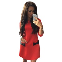 Women Bow Mini Dress Spring Autumn Straight Casual Dress 3 4 Sleeves Solid Dress Vestido