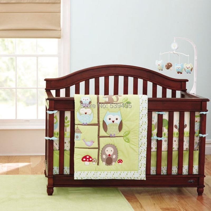 7 pcs baby crib bedding Cute owl design girl cot bedding infant nursery bedding