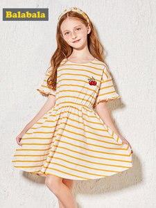 Image 2 - Balabala Girls Dress rękaw motylek maluch dziewczyna sukienka z wycięciem na plecach dzieci dzieci dziewczyna letnia sukienka plażowa z falbanką