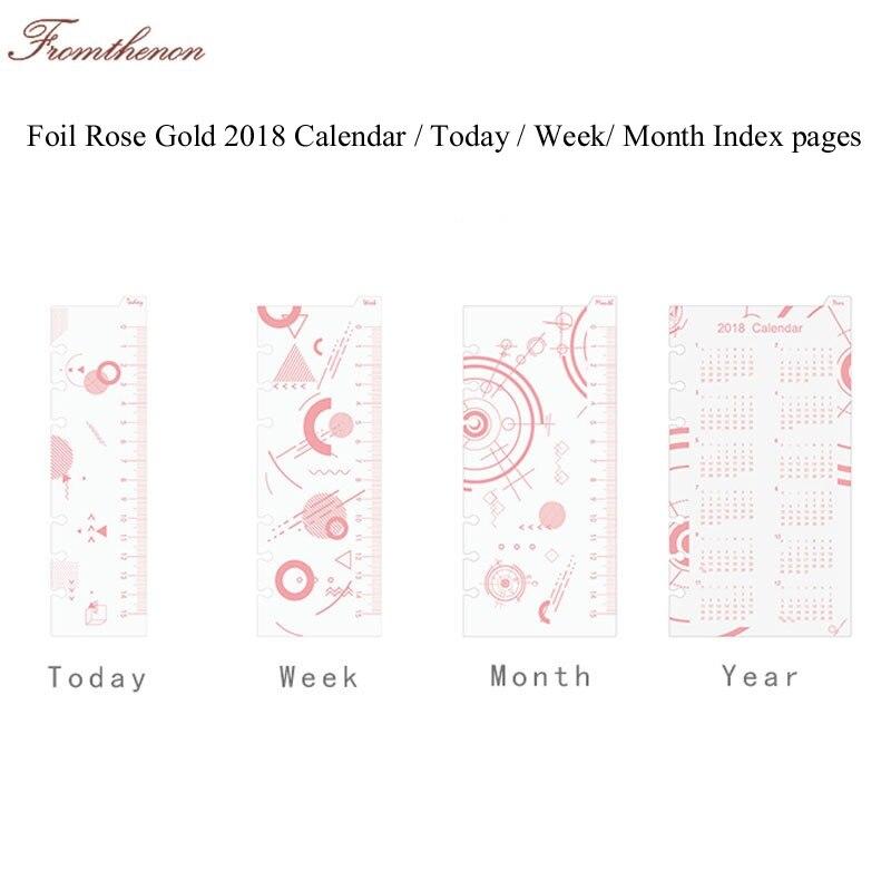 Pagina Calendario Settimanale.Oro Rosa A5a6 A Spirale Planner Legante Indice Divisori