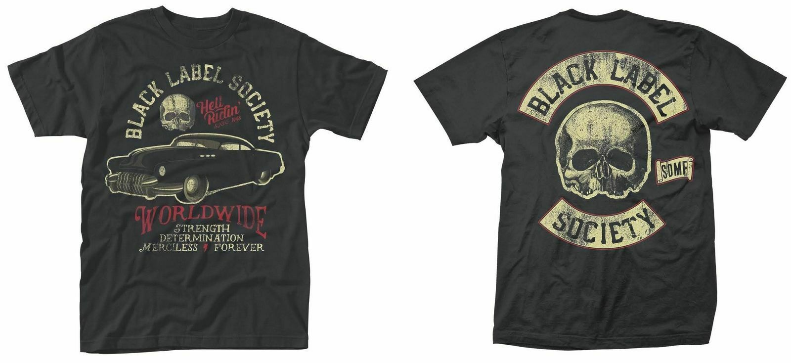 Black Label Society Hell Riding Rock Officiel Tee T-shirt Homme Unisexe