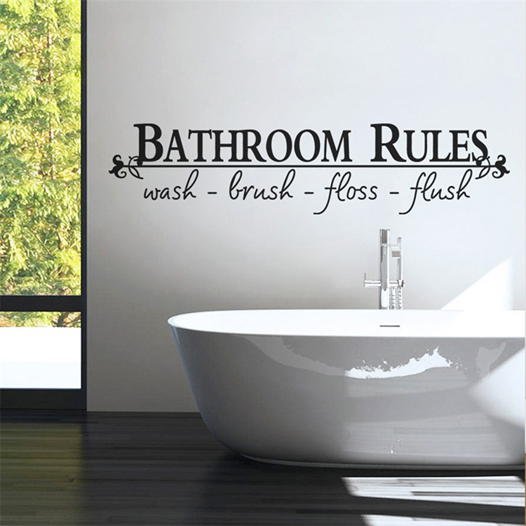 English Sticker Bathroom Glass Vanity Letter Waterproof Adhesive Wall Stickers Home Decoration
