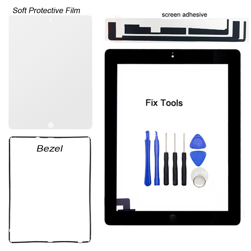 купить 1PCS For iPad 2 2nd Gen A1395 A1396 A1397 Digitizer Touch Screen Front Glass Outer Panel+Button+Adhesive+Protective Film+Tools по цене 292.39 рублей