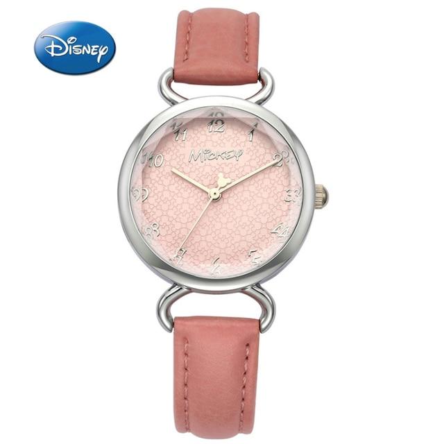 ade9687993c Mulher Relógios Top De Luxo Senhoras Relógio Mickey Disney Marca Original  de Couro Genuíno Moda Feminina