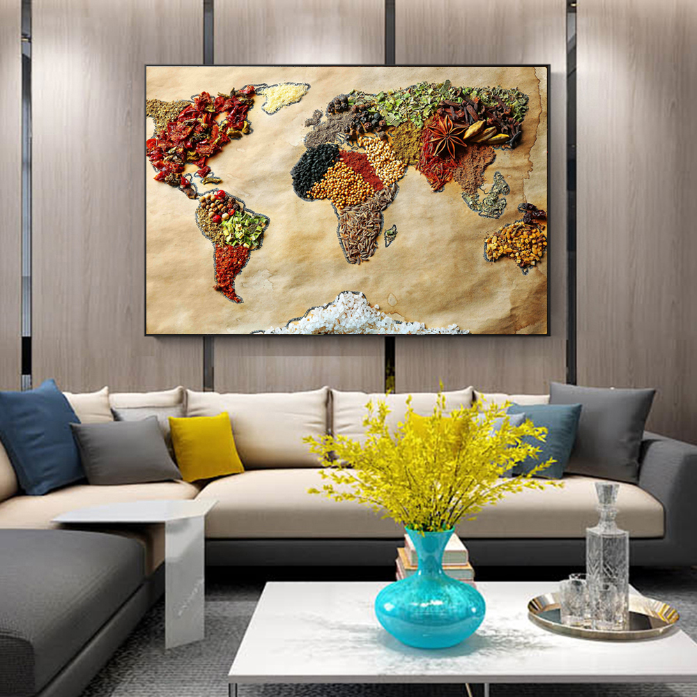 World Map Of Food Wall Posters Modern Whole Grains Pop Art Canvas ...