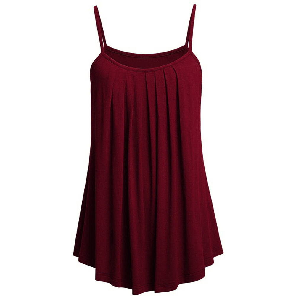 Plus Size 6XL Women Solid Color Camisole Sleeveless Pleated O Neck Vest   Tank     Tops   Large Swing Summer Women Bottoming Shirt Vest