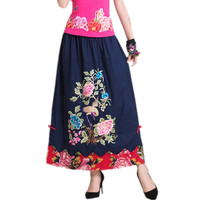 2017 Fashion Summer Women Skirt Vintage Harajuku Casual Saia Longa Clothes Brand Long Ladies Embroidery Cotton
