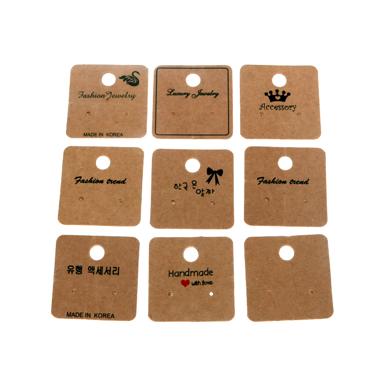 100Pcs/lot 4x4cm Blank Kraft Paper Jewelry Display Earrings Cards Favor Label Tags For Jewelry Making Diy Accessories Wholesale