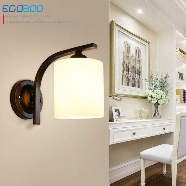 New Style Gl Simple Modern Black Wall Lamps Indoor Bedroom Bedside Lamp Corridor Balcony Lighting Fixtures