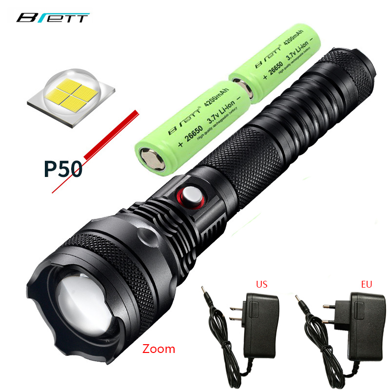 led flashlight cree xhp50 xhp70 Rotary zoom Use 2 26650 battery Direct charging Shock Resistant Self