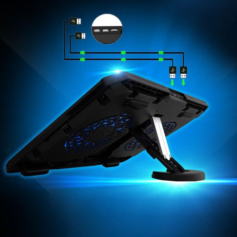 Nouveau refroidisseur d'ordinateur portable Pad De Refroidissement Réglable Chill Mat avec LED Ventilateurs pour Ordinateur Portable